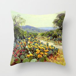 Yellow and Red Cactus Blossoms in the Desert Landscape painting by Robert Julian Onderdonk Throw Pillow