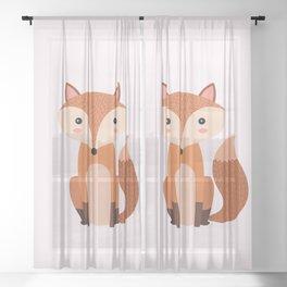 Fox art print Sheer Curtain