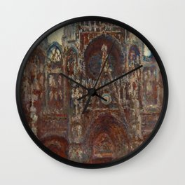 "Claude Monet ""Rouen Cathedral, evening harmony in brown"" Wall Clock"