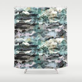Painted abstract mountain landscape Shower Curtain