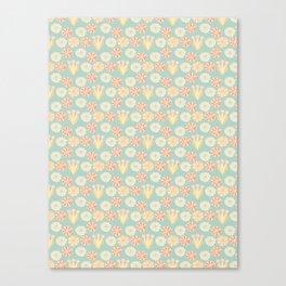 Soft Pastel Retro Floral Canvas Print