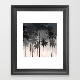 Palms trees at night Framed Art Print