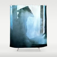 vietnam Shower Curtains featuring Rice paper production of  Vietnam by CAPTAINSILVA