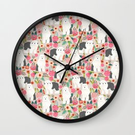 Old English Sheepdog floral dog breed pet art pattern gifts Wall Clock