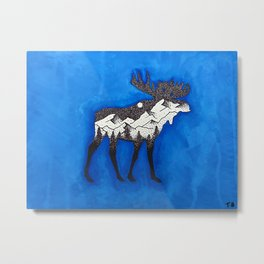 Blue Moose Metal Print