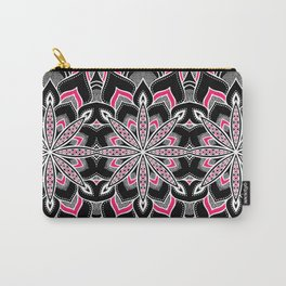 Black White Pink Flower Panel Art Carry-All Pouch