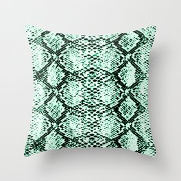 snake edgy green Throw Pillow