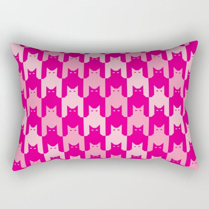 Pink Catstooth Pattern Rectangular Pillow