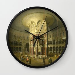London, Interior of the Rotunda at Ranelagh by Canaletto Wall Clock