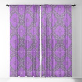 Purple Flower Sheer Curtain