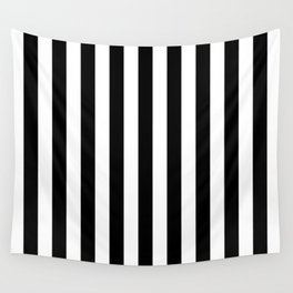Stripes (Parallel Lines) - White Black Wall Tapestry