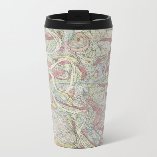 Beautiful Map of the Lower Mississippi River Metal Travel Mug