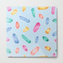 Crystals pattern - Light Blue Metal Print