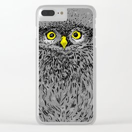Fluffy baby owl staring eyes Clear iPhone Case