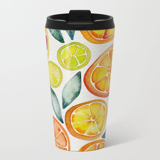 Sliced Citrus Watercolor Metal Travel Mug