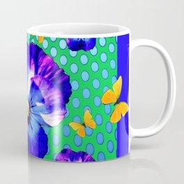 PURPLE SPRING PANSIES GOLDEN BUTTERFLIES BLUE-GREEN ART Coffee Mug