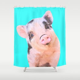 Baby Pig Turquoise Background Shower Curtain