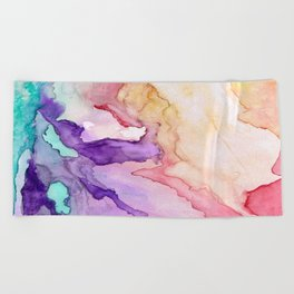 Color My World Watercolor Abstract Painting Beach Towel