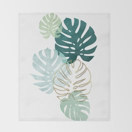 Tropical minimal / green, turquoise and gold monstera Throw Blanket