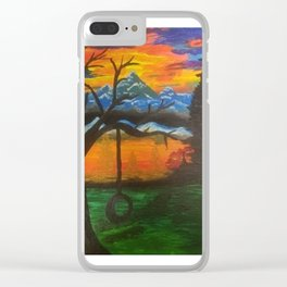 lonely thinking Clear iPhone Case