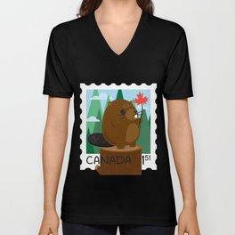 Beaver Stamp Unisex V-Neck