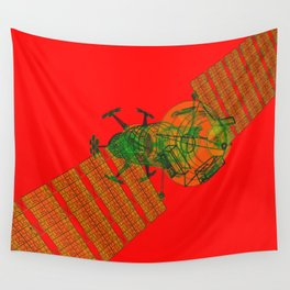 Explorer Schematic Warped Green on Red Wall Tapestry