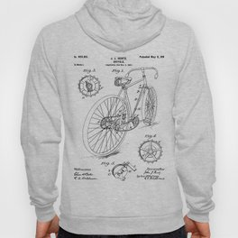 Bicycle Patent - Cyclling Art - Black And White Hoody