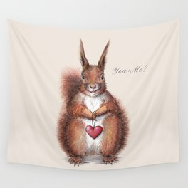 Squirrel heart love Wall Tapestry