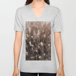 blooming grass flowers field texture abstract background Unisex V-Neck