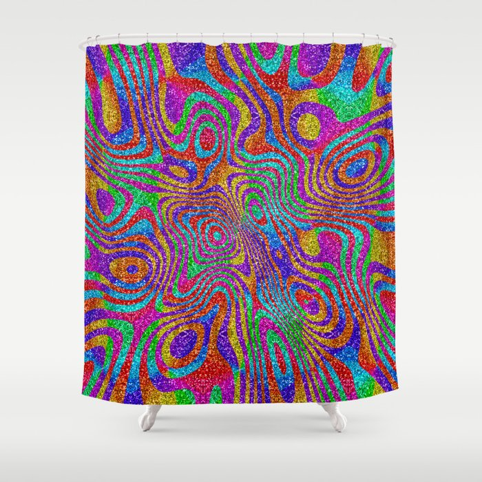 Psychedelic Rainbow Glitter Bomb Shower Curtain By Pixel404
