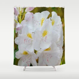 White Rhododendron by Teresa Thompson Shower Curtain