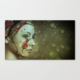 Fantasy Beautiful Girl Flower Face Canvas Print