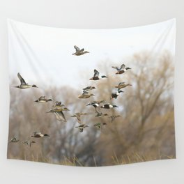 Ducks in Autumn Flight Wall Tapestry