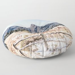 Flatirons Boulder // Colorado Scenery Mountain Landscape Snowfall Fence Line Floor Pillow