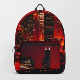 Red Chicago River at Night Backpack