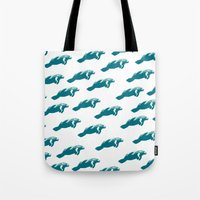 manatee Tote Bags featuring Manatee by Gallery Girl