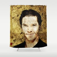 benedict cumberbatch Shower Curtains featuring Portrait of Benedict Cumberbatch by André Joseph Martin