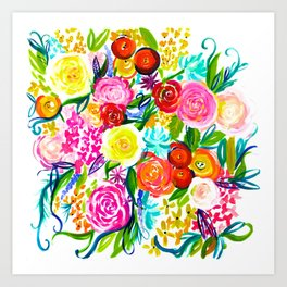 Bright Colorful Floral painting Art Print