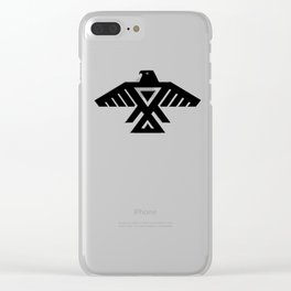 Animikii Thunderbird doodem on red - HQ image Clear iPhone Case