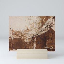 Dutch Farmhouse in Light and Shadow Mini Art Print