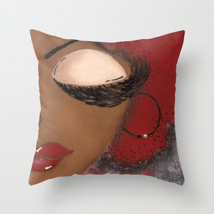 Crimson and Cream Sassy Girl Throw Pillow