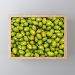 Food. Green tasty olives Framed Mini Art Print