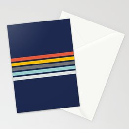 Multicolored Retro Stripes on blue Stationery Cards