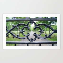 View Through a Wrought Iron Gate Art Print