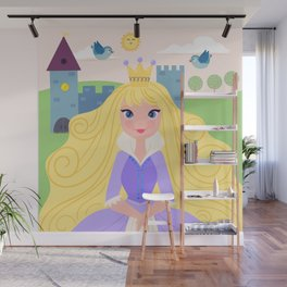 Fairy Tale Princess With Her Story Book Castle - Purple Dress Wall Mural