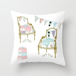 A French Dress Shop Throw Pillow