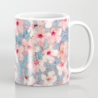 bedding Mugs featuring Shabby Chic Hibiscus Patchwork Pattern in Pink & Blue by micklyn