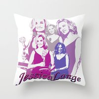jessica lange Throw Pillows featuring Jessica Lange - Emmys 2014 by BeeJL