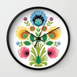 Polish Folk Flowers Pink and Yellow Wall Clock