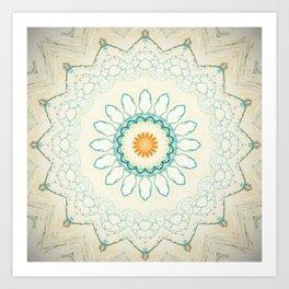 Pastel Yellow Baby Blue Mandala Art Print